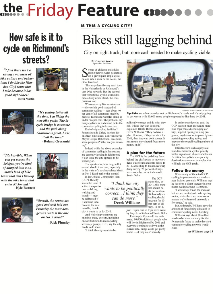 Cycling in Richmond feature in the Richmond News